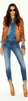 denim leather outfit