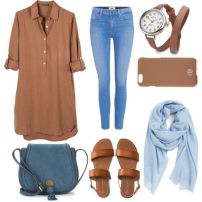 blue brown outfit