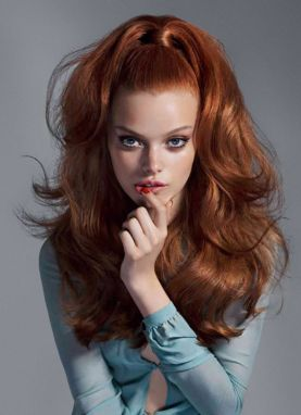 60s volume updo hair make up fashion