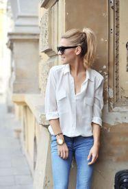 white shirt blouse outfit bijela košulja