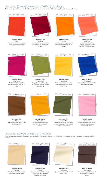 PANTONE preporučena paleta boja za 2019. godinu