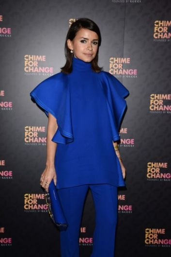 "arrives at the RoMiroslava Dumayal Box photo wall ahead of the ""Chime For Change: The Sound Of Change Live"" Concert at Twickenham Stadium on June 1, 2013 in London, England. Chime For Change is a global campaign for girls' and women's empowerment founded by Gucci with a founding committee comprised of Gucci Creative Director Frida Giannini, Salma Hayek Pinault and Beyonce Knowles-Carter."